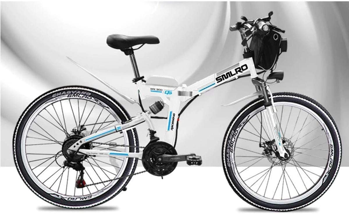 Amazon Com Kosgk Electric Mountain Bike 48v Children S Bicycles 26 Inch Folding E Bike With 4 0 Fat Tyres Spoke Wheels Premium Full Suspension White Home Kitchen