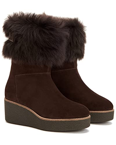 Aquatalia Women's Vallaine Suede/Shearling Ankle Boot