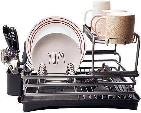ddh premium aluminum dish drying rack and drainboard set 2 tier dishwasher rack kitchen sink dishes organizer rustproof dryer dishwashing caddy
