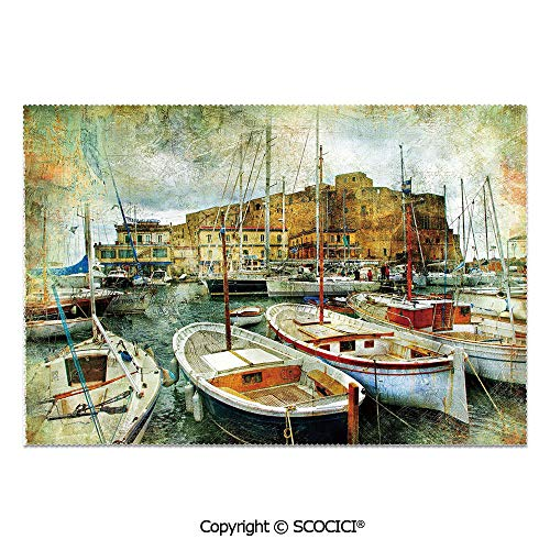 SCOCICI Place Mats Set of 6 Personalized Printed Non-Slip Table Mats Naples Small Boats at Historical Italian Coast with Heritage Castle Artwork Decorative for Dining Room Kitchen Table Decor