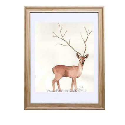 Bbdsj Europeo sólido madera portaretrato,Marco de fotos moderno simple,Montado en la pared