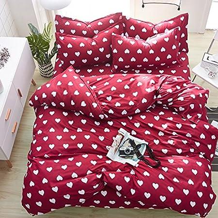 KFZ Bed SET (Twin Full Queen King size) [4 piece: duvet cover, Flat sheet, 2 pillow cases] No comforter KSN Heart Love Strawberry Pineapple design for Kids Sheet Sets (Arrow Love, Grey, Twin, 59x79) 59x79)