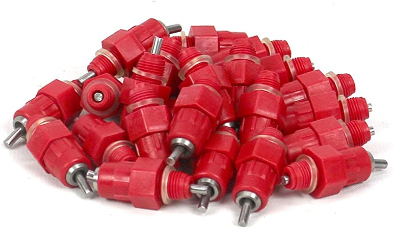 10pcs Automatic Red Water Nipple Drinker Chicken Feeders Poultry Screw in Style