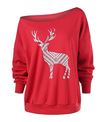 9da7d5080f6 Women s Ugly Christmas Off The Shoulder Sweatshirt Reindeer Pullovers  Shirts Plus Size (S