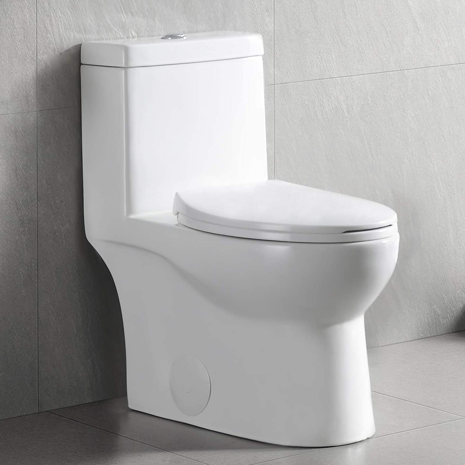 Deervalley Dv 1f52816 White Ceramic Standard Comfort Height Elongated Dual Flush One Piece Toilet With Soft Closing And Quick Release Toilet Seat Amazon Com