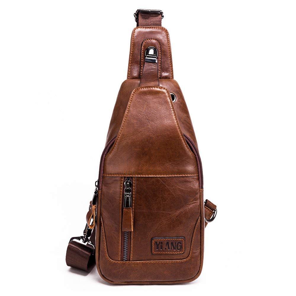 Leathario Men's Leather Sling bag Chest bag One shoulder bag Crossbody Bag Backpack for men (Brown-86) [並行輸入品] B07R4W3RGH