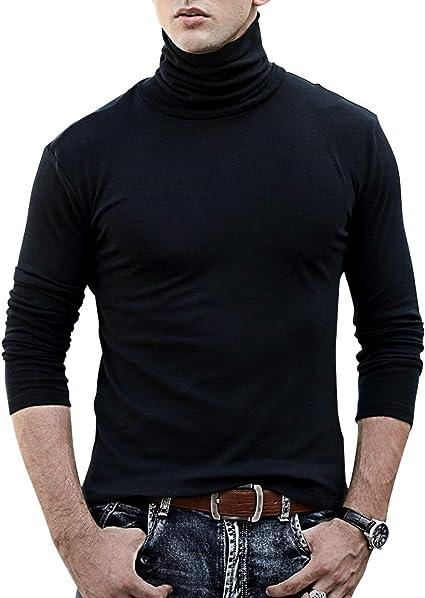 TALLA XL. TUPARKA Cuello Alto para Hombre Suave Camiseta de Manga Larga Top Esquí Golf Cuello Redondo Camiseta térmica Jumper para Hombre Tamaño Grande