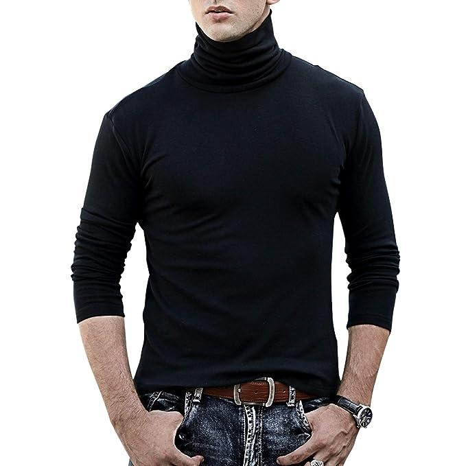 TUPARKA Cuello Alto para Hombre Suave Camiseta de Manga Larga Top ...