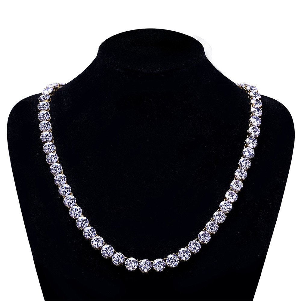 Jewelrysays Hip Hop CZ Jewelry Full Bling Zircon 10mm 1 Row Tennis Necklace Gifts /…