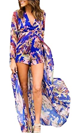 f64a3e11f25 Qiangjinjiu Womens Floral Print Chiffon Flowing Boho Jumpsuit Romper Dress  1 XS