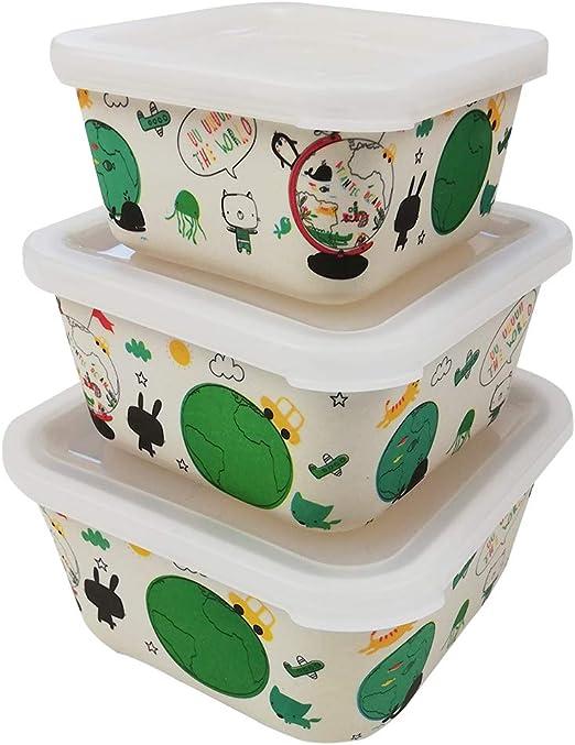 3 Tupper bambú Infantil,Ecológico sin BPA,Fiambrera desayuno,Ideal para bebés y niños,Apto para lavavajillas-tierra: Amazon.es: Hogar