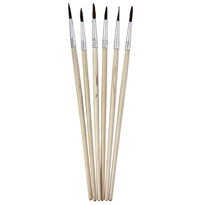 "Chenille Kraft CK-5946 Camel Hair Watercolor Brush with Short Hardwood Handles, 0.24"" Height, 2.99"" Wide, 11.57"" Length, #4 (6 per Package): Industrial & Scientific"