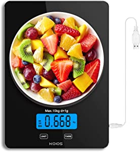 KOIOS 33lb/15kg Max Food Scale, Rechargeable Digital Kitchen Scale, Weight Grams and oz for Cooking Baking, 1g/0.1oz Precise Graduation, 6 Units, Tare Function, Waterproof Tempered Glass