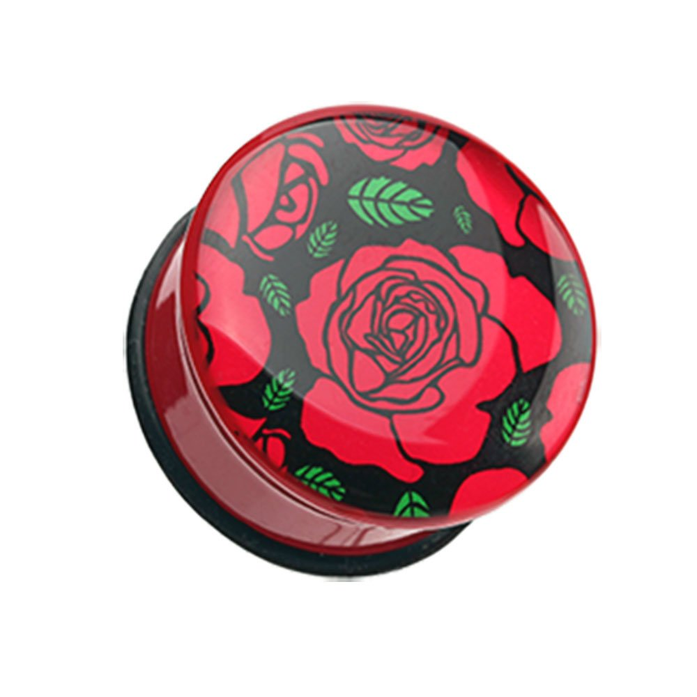 Inspiration Dezigns Romantic Red Rose Single Flared Plugs Sold as Pairs