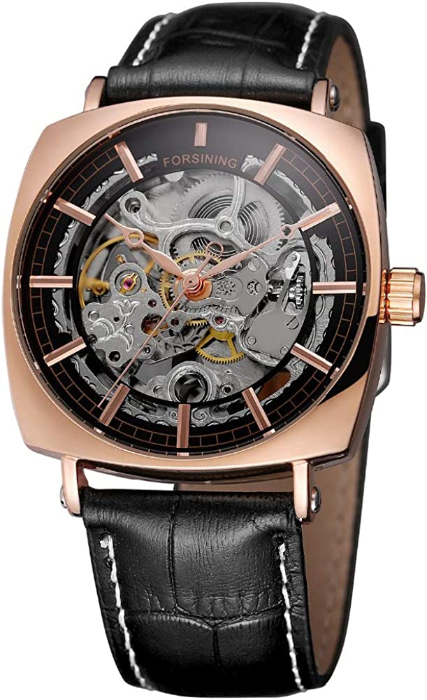 Fashion Royal Luxury Men s Stylish Square Rose Gold Stainless Steel Automatic Watch Black Genuine Leather Transparent Skeleton Men Automatic Mechanical Watches