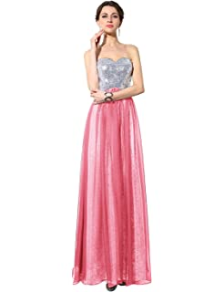 Sarahbridal Long Chiffon Prom Dress Formal Evening Wedding Party Dresses A-line Gowns with Sequined