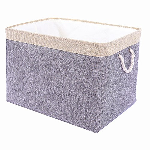 TheWarmHome Jumbo Decorative Basket Rectangular Fabric Storage Bin Organizer Basket with Handles for Clothes Storage (Grey Patchwork, 20.5L×15.7W×13.8H)