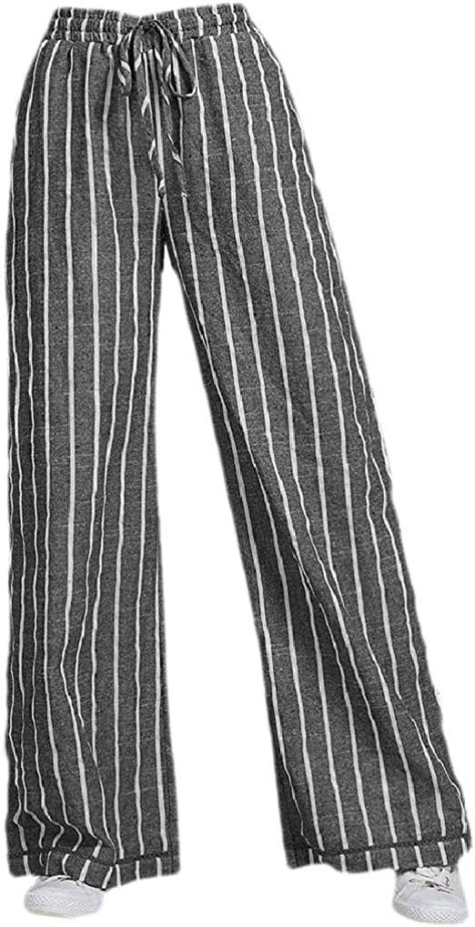 cheelot Womens Stripes High-waisted Straight Lounge Linen Palazzo Wide Leg Pants