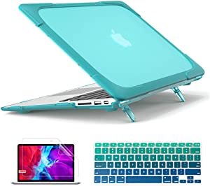 Mektron for MacBook Air 13 inch Case A1466 A1369 (2010-2017 Release), [Heavy Duty] [Dual Layer] Hard Case Cover with TPU+PC Bumper w/Keyboard Cover Screen Protector, Sky Blue