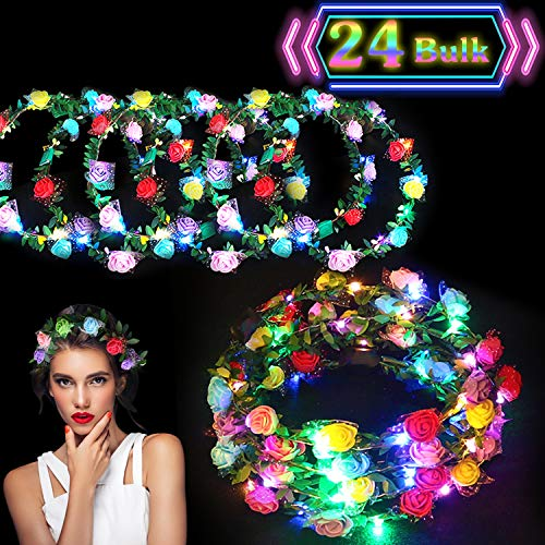 24 Pack LED Flower Crown Colorful Headdress Light Up Flower Wreath Headband Glow in The Dark Party Favors Flashing Garland for Teen Girls College Student Dress Up Accessories for Birthday Wedding