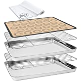 Baking Sheet 55 PCS Baking Sheet Set with 2 PCS Stainless Steel Baking Pans & Cooling Rack,Silicone Baking Mat & 50 Parchment