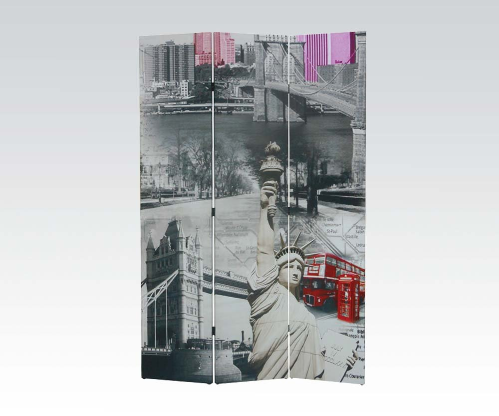 Brand New Trudy New York (16''x3) x71''H Scenery Design 3-panels Wooden Screen Room Divider