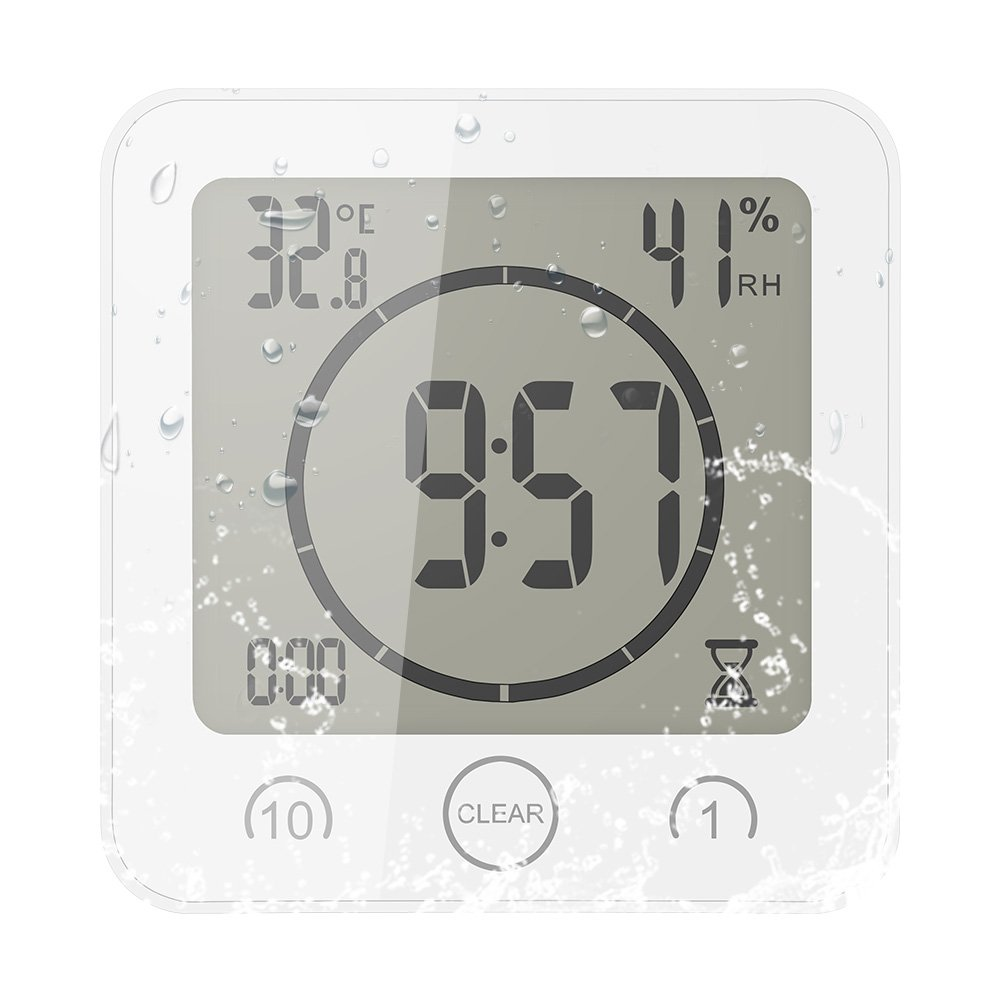 [Updated Version] FORNORM Shower Clock Waterproof, Digital Clock Timer Clock with Alarm, Bathroom Clock with Suction Cup, Temperature Humidity Display, 3 Mounting Methods, CountDown Timer, Battery Power, White