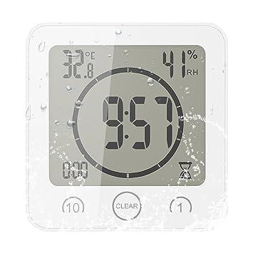 FORNORM Shower Clock Dusche Uhr Wasserdicht, Badezimmer Uhr Digital mit  Saugnapf LCD Display Luftfeuchtigkeit Temperatur Wanduhren, AM/PM oder 24  ...