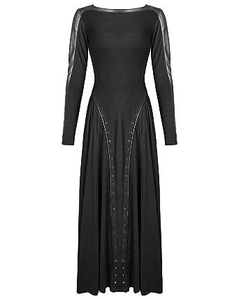 56afd1dba94 Punk Rave Maxi Dress Long Sleeve Black Gothic Dieselpunk Witch Faux Leather   Amazon.co.uk  Clothing