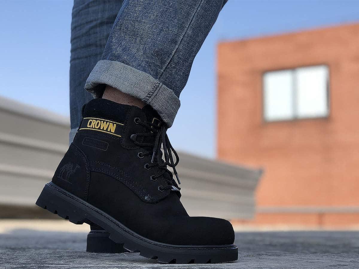 CAMEL CROWN Boots Homme Cuir Boots de Travail Hommes Cuir V/éritable Botte de Protection Semelle en Caoutchouc Industrielle Imperm/éable /à leau de Work Bottes