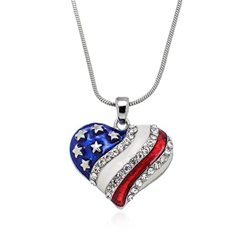 Amazoncom Pammyj Silvertone Red White Blue American Flag Heart