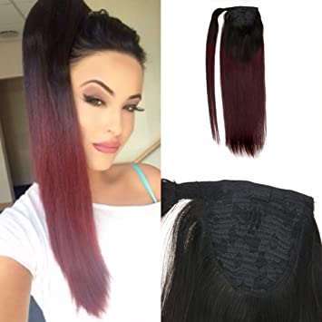 Amazon.com   Moresoo 18 Inch Human Hair Ponytail Wrap Color Off Black  1B  Ombre to 99j Wine Red Hair Extensions Ponytail Straight 100g Wrap Around  Pony Tail ... d43c8e5a0c