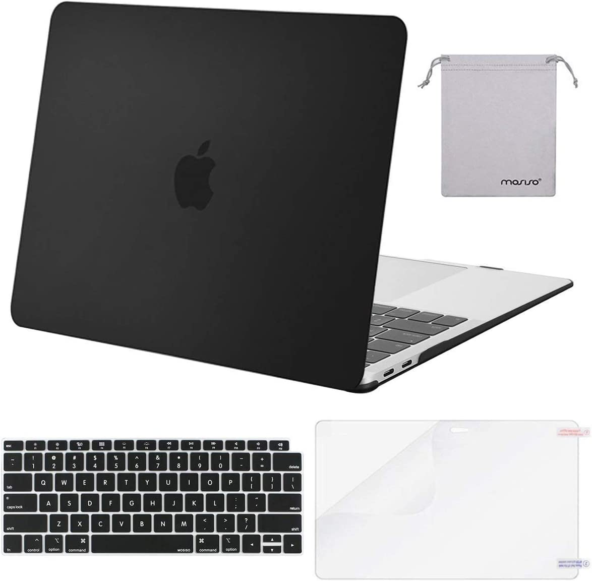 MOSISO MacBook Air 13 inch Case 2020 2019 2018 Release A2179 A1932 with Retina Display, Plastic Hard Shell&Keyboard Cover&Screen Protector&Storage Bag Compatible with MacBook Air 13, Black