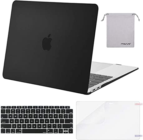 Plastic Hard Shell/&Keyboard Cover/&Screen Protector/&Storage Bag Compatible with MacBook Air 13 Black MOSISO MacBook Air 13 inch Case 2020 2019 2018 Release A2179 A1932 with Retina Display