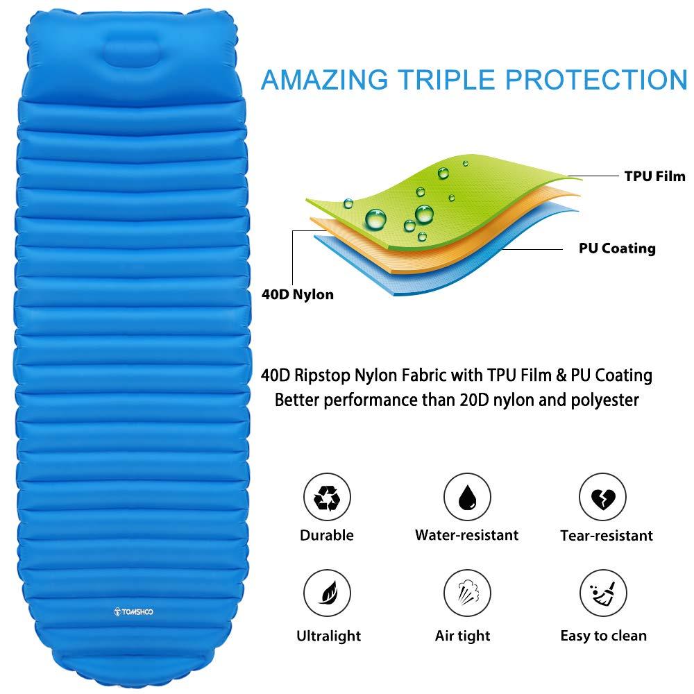 TOMSHOO Esterillas Auto-inflables,Esterilla Inflable de Ultraligero Portátil Impermeable,para Acampada al Aire Libre,Senderismo y Playa