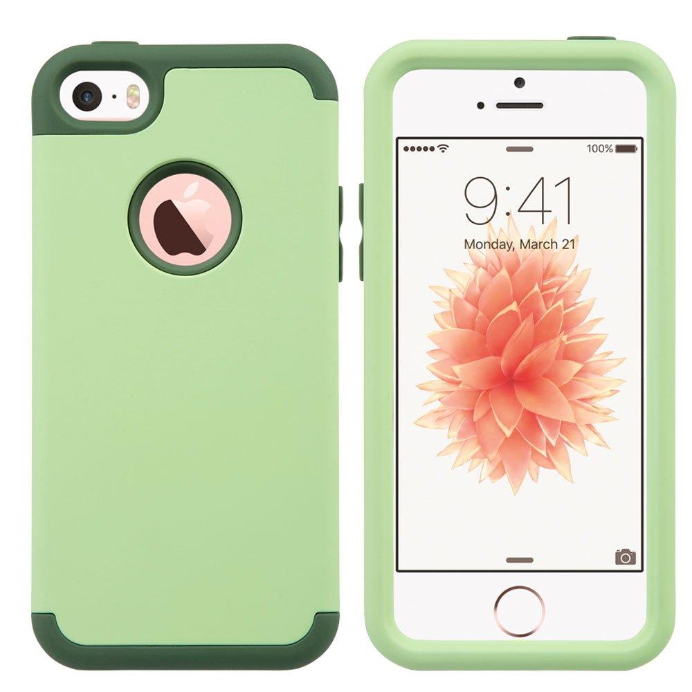 ULAK iPhone SE Funda iPhone 5S Carcasa de protecci/ón h/íbrido Resistente a Prueba de Golpes de Cuerpo Completo con Capa para el iPhone SE // 5 // 5S // 5C Gris Hard PC + Soft Silicone Verde Menta