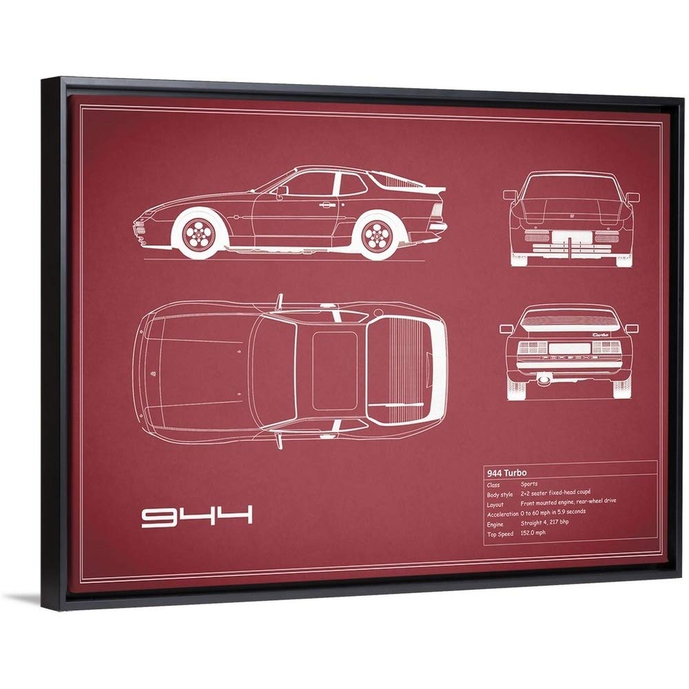Amazon.com: Mark Rogan Floating Frame Premium Canvas with Black Frame Wall Art Print Entitled Porsche 944 Turbo - Maroon 24