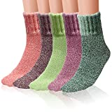 Dafunna Women's 5 Pairs Soft Thick Winter Wool Socks Casual Vintage Style Cozy Thermal Crew Socks