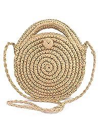 Zongsi Handmade Round Straw Beach Bag Shoulder Bag Handbag Crossbody Bag for Women