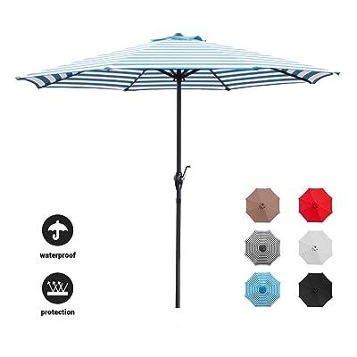 Devoko 9 FT Patio Umbrella Outdoor Table Market Umbrella with Easy Push Button Tilt for Garden, Deck, Backyard and Pool (Blue White) : Garden & Outdoor