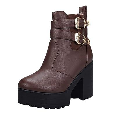 UH Damen Blockabsatz Plateau High Heel Stiefeletten Chelsea Ankle Boots mit  Fell und Schnalle Freizeit Warm 810a31f589