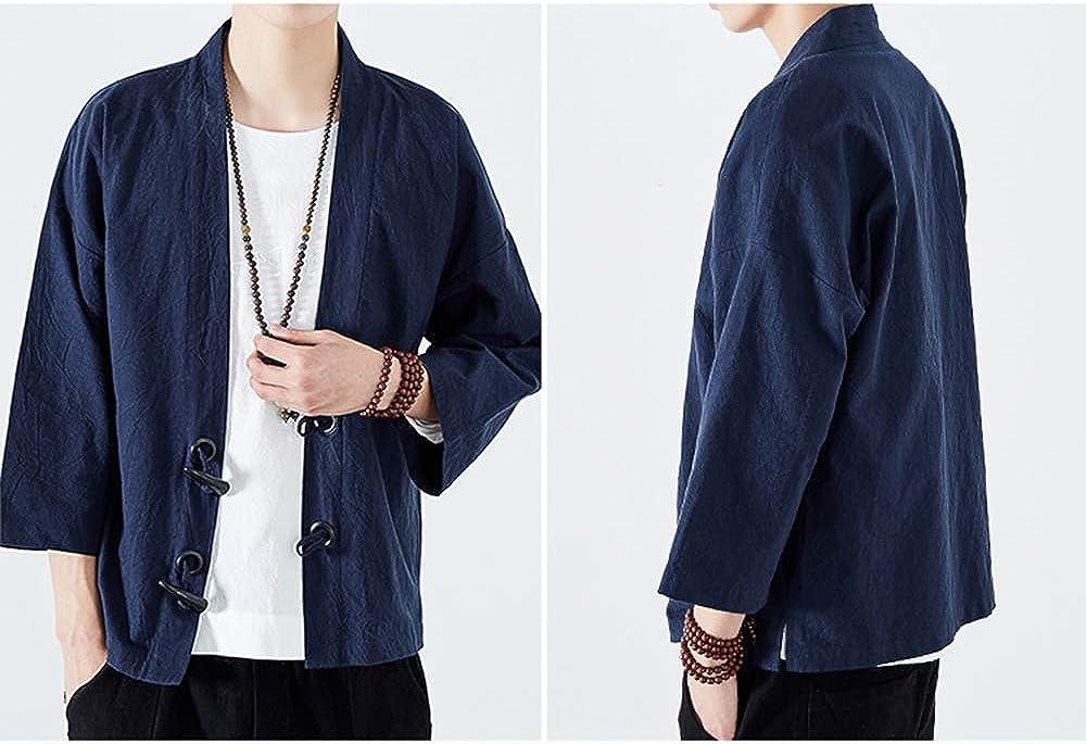 Mens Japanese Yukata Tang Suit Coat Kimono Outwear Hanfu Vintage Cardigan