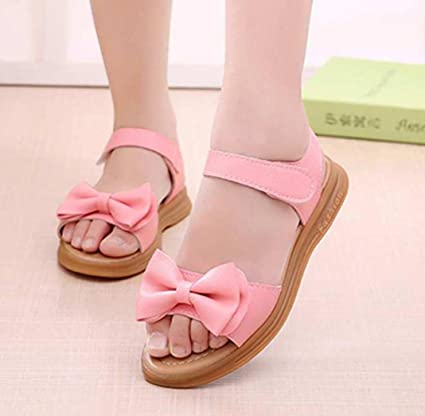 4a2e79668286 Amazon.com  Girls Sandals Slipper Flats Shoes Toddler Kids Soft Sole  Bowknot Hook Flats (7 Years Old