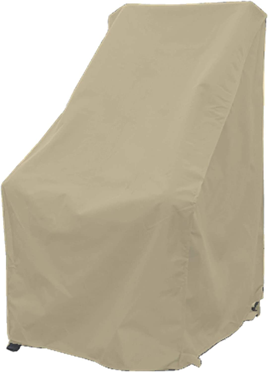 """Premium Tight Weave Patio High Back Chair Covers with Peel and Stick Fasteners Protects Furniture up to 42"""" H in Taupe"""