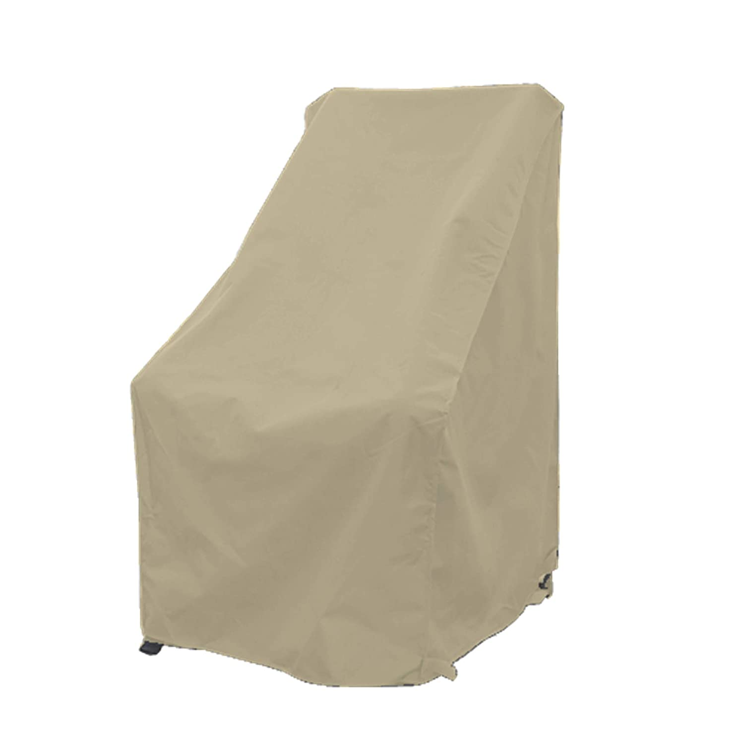 Premium Tight Weave Patio High Back Chair Covers with Peel and Stick Fasteners Protects Furniture up to 42 H in Taupe