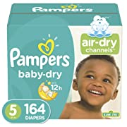 Diapers Size 5 (164 Count) - Pampers Baby Dry Disposable Baby Diapers, One Month Supply