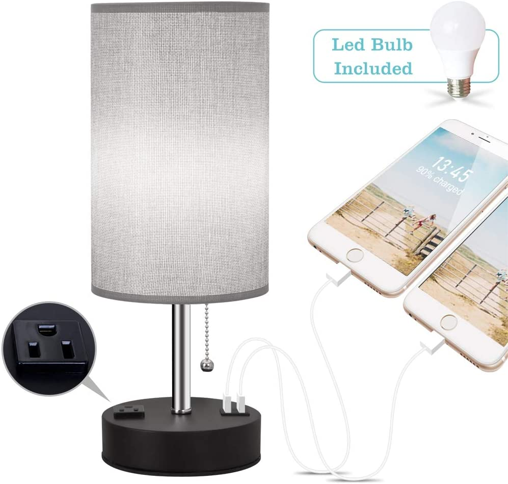 ZEEFO Table Lamp, Cylinder Grey Shade Metal Black Base Modern Design Nightstand Lamps Built in Dual USB Charging Ports with AC Outlet, Bedside Lamp with 5W Bulb Great for Bedroom, Living Room