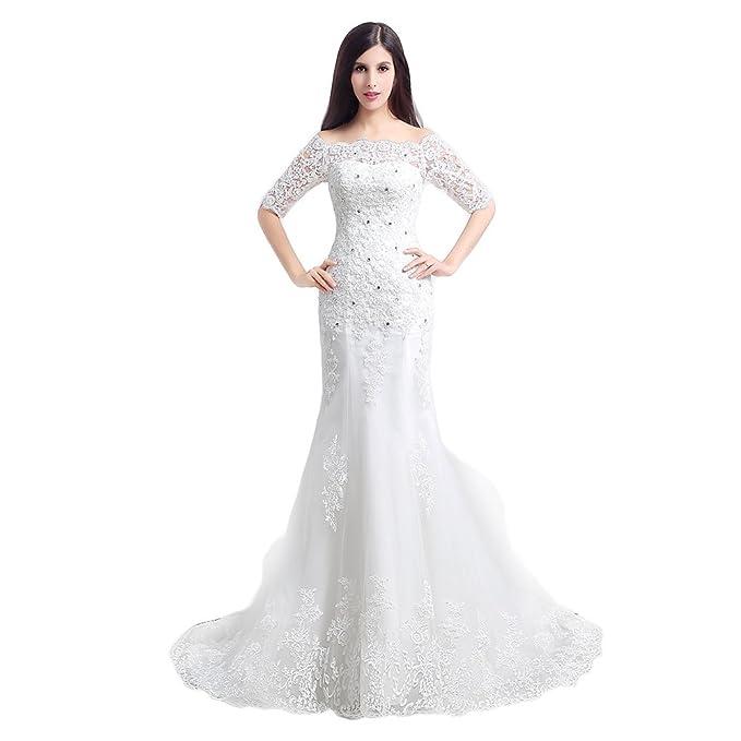 Engerla mujer cuadrado Floral Lace Applique 1/2 Manga, diseño de sirena vestido de novia: Amazon.es: Ropa y accesorios