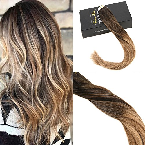 Sunny 18inch Remy Hair Extensions Human Hair Tape in Ombre Darkest Brown to Medium Brown Mixed Caramel Blonde Balayage Tape in Hair Extensions Human Hair 50G (Wavy Tape In Real Hair Extensions)