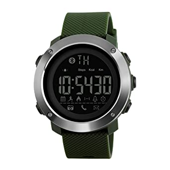 Reloj Deportivo Contador de calorías podómetro Reloj Digital Bluetooth Fitness Relojes Militares táctico para Hombres Mujeres niños: Amazon.es: Relojes